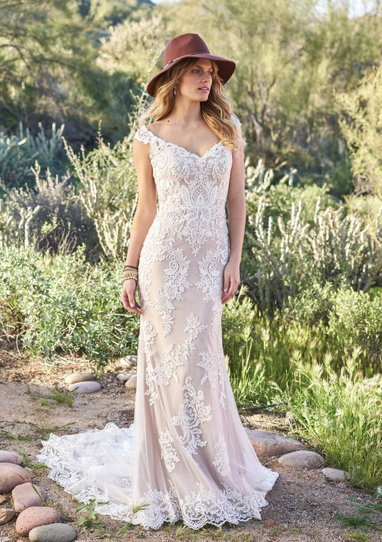 Lillian West Style 6506 Venice Lace Off the Shoulder Illusion Back Gown