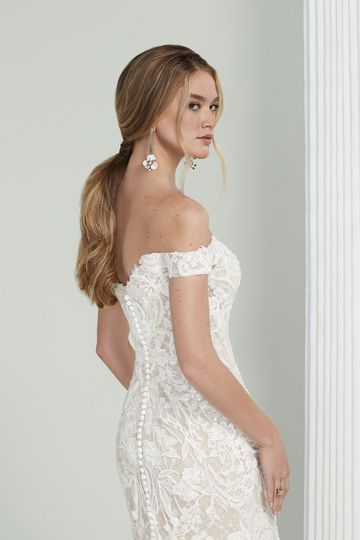 Justin Alexander Signature Style 99220 Indira Beaded and Sequined Off the Shoulder Gown with Petal Train