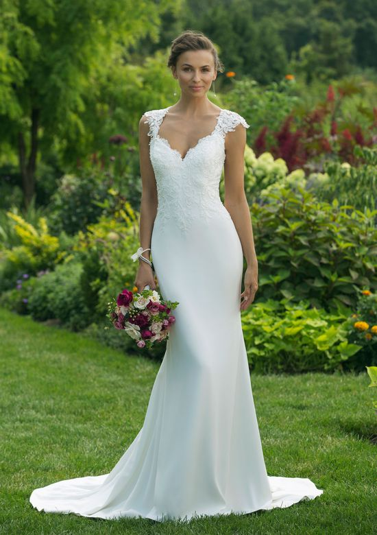 Sweetheart Gowns Style 11013 Fit and Flare Gown with Lace Queen Anne Neckline