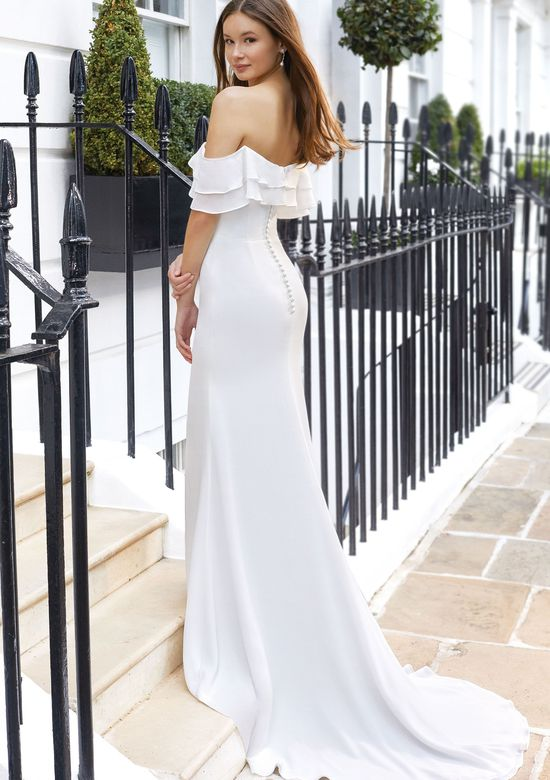 Adore by Justin Alexander Style 11117 Georgette Fit and Flare Gown with Off The Shoulder Tiered Flounce