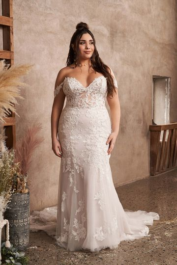 Lillian West Style 66193PS Illusion Bodice Plus Size Fit and Flare Dress with Detachable Straps