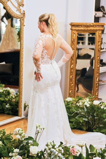 Justin Alexander Style 88049PS Allover Lace Illusion Long Sleeve Fit and Flare Plus Size Gown