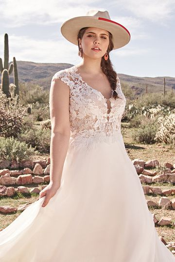 Lillian West Style 66077PS Chiffon A-Line Plus Size Dress with Queen Anne Neckline