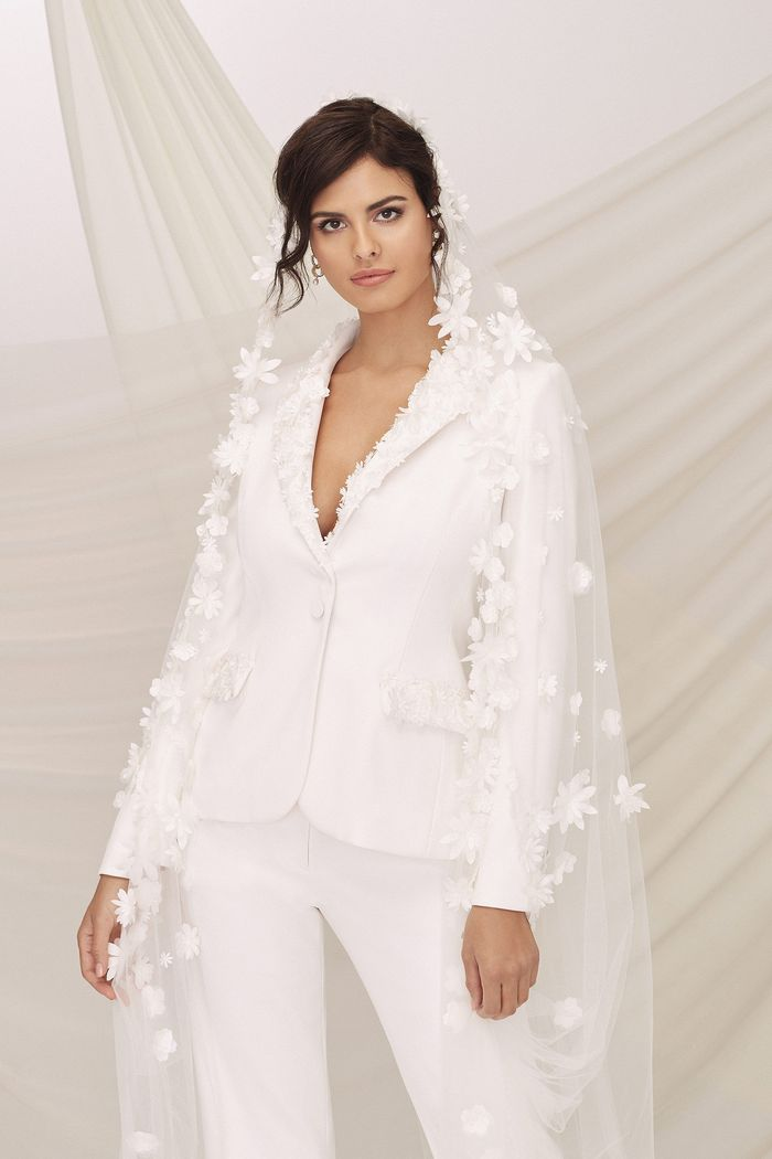 Justin Alexander Signature Style 99116 UPTOWN Crepe Pantsuit Accented with Laser Cut 3D Flowers