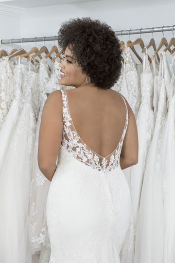 Sincerity Bridal Style 44228PS Plunging V-Neck Plus Size Gown with Low Back and Shaped Train