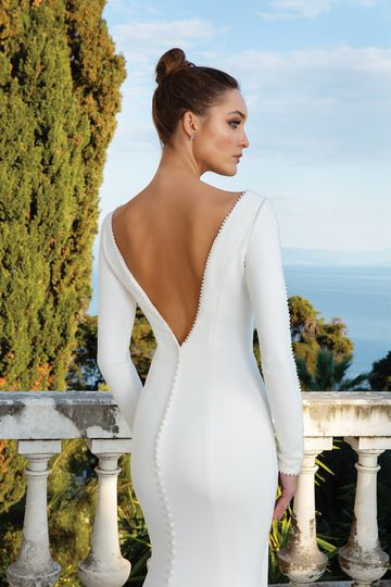 Justin Alexander Style 88128 Crepe Long Sleeve Gown with Pearl Detail