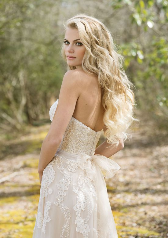 Lillian West Style 6461 Sweetheart Neckline Gown with Beaded Sequined Lace Appliques