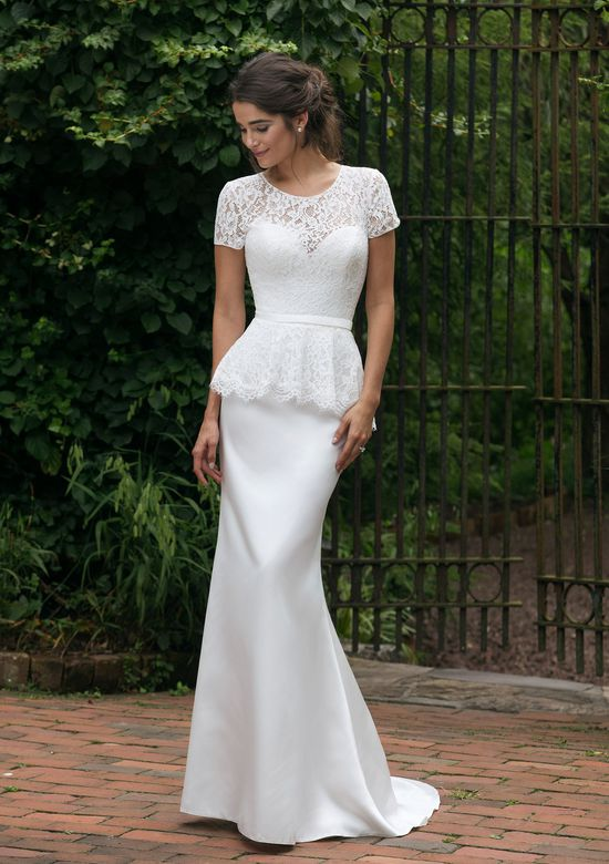 Sincerity Bridal Style 44040 Short Sleeve Lace Peplum Fit and Flare Gown