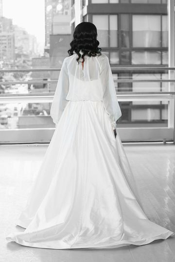 Justin Alexander Signature Style 99120J PERISSA JACKET Organza Jacket with Beaded High Neck Collar and Cuffs