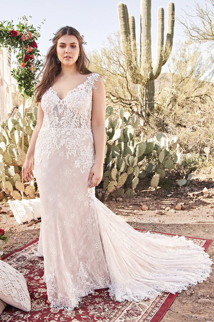 Lillian West Style 66012PS Natural Waist Fit and Flare Plus Size Bridal Dress with Lace Details