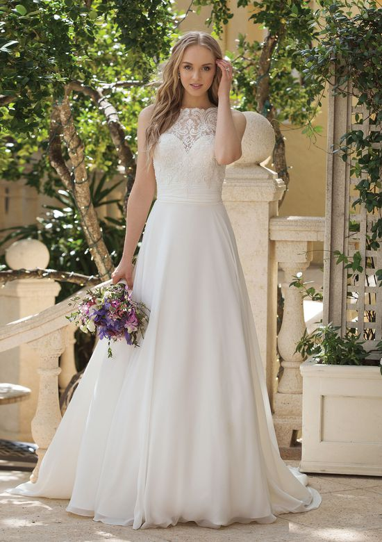 Sincerity style 44085 A-line with Beaded Lace Bodice and Cummberbund