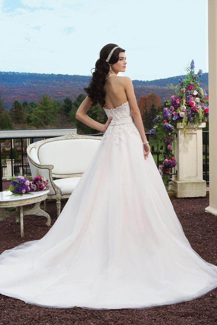 Sincerity Bridal Style 3816 Tulle Ball Gown with Satin Bow Belt