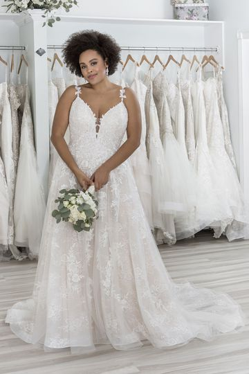 Sincerity Bridal Style 44282PS Plunging V-Neck Plus Size A-Line Gown with Thin Straps