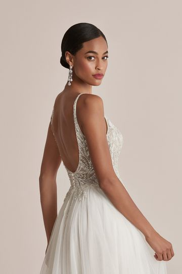Justin Alexander Style 88215 Cady English Net A-Line Dress with Beaded Bodice and Scoop Back