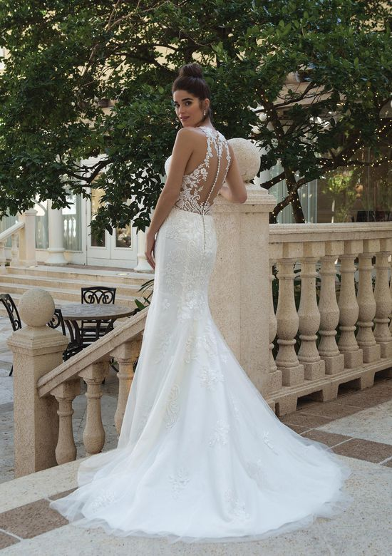 Sincerity Bridal Style 44099 Jewel Illusion Collared Gown with Embroidered Lace