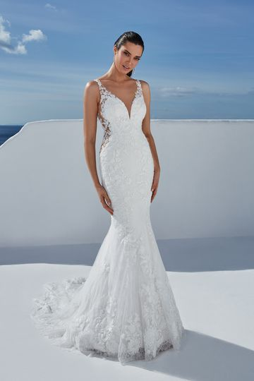 Justin Alexander Style 88187 Brooklyn Beaded Lace Fit and Flare Gown with Illusion Sides and Back