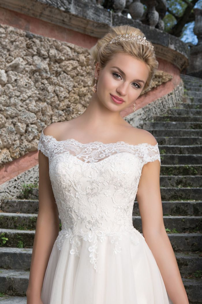 Sincerity Bridal Style 3889 Off the Shoulder Lace and Tulle Ball Gown