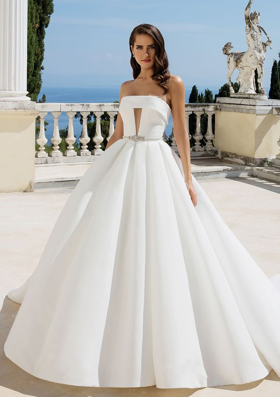 Justin Alexander Style 88095 Clean Mikado Ball Gown with Cuffed Neckline