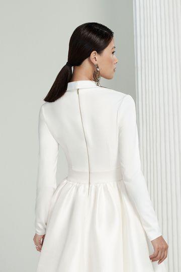 Justin Alexander Signature Style 99225 Sarah Long Sleeve Tea Length Dress with Bow