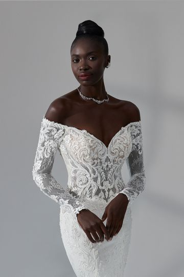 Justin Alexander Signature Style 99180 Georgia Beaded Off the Shoulder Fit and Flare Dress with Illusion Train