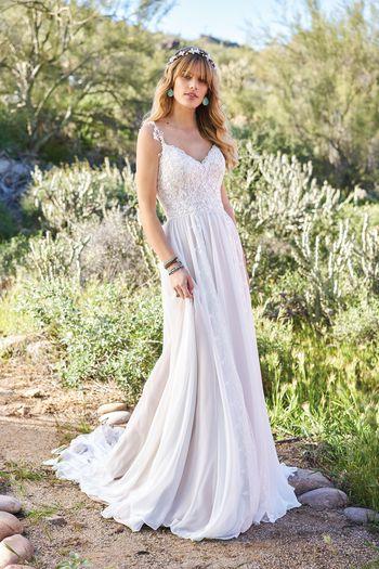 Lillian West Vertical Lace Panel A-Line Gown