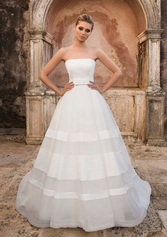 Justin Alexander style 88066 Bias Striped Satin and Organza Ball Gown