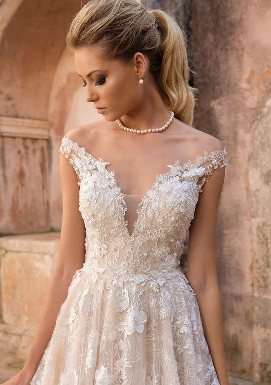 Justin Alexander style 88048 3D Floral Off the Shoulder Gown