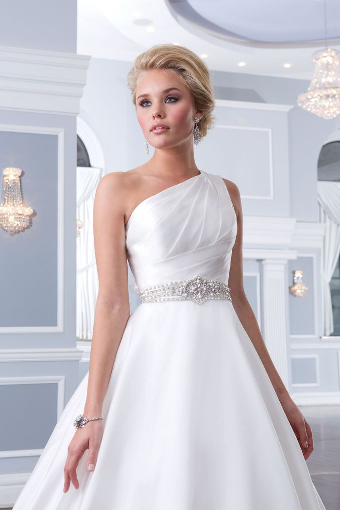 Lillian West Style 6297 One Shoulder Satin Organza A-Line Gown