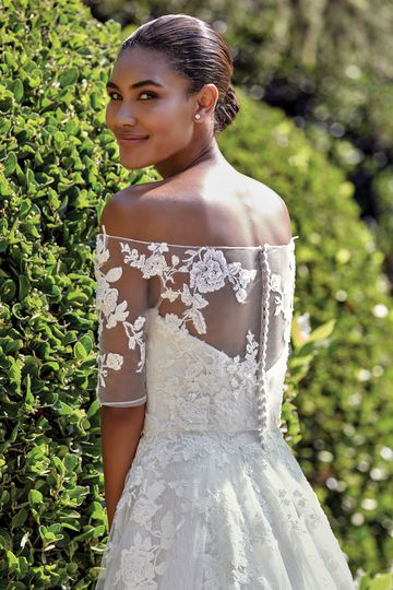 Sincerity Bridal Style 44135 Sequined Embroidered Lace Ball Gown with Off the Shoulder Jacket