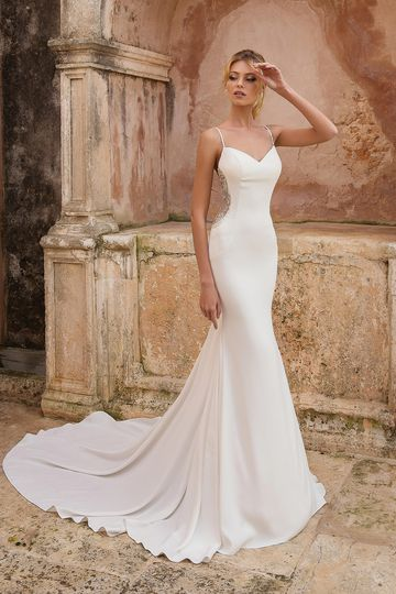 Justin Alexander Style 88036 Fit and Flare Dress with Illusion Beaded Cutout Sides