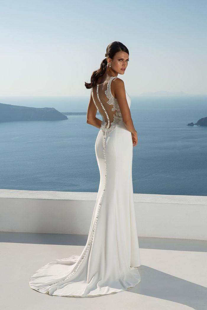 Justin Alexander Style 88024 Crepe Fit and Flare Gown with Illusion Back Detail