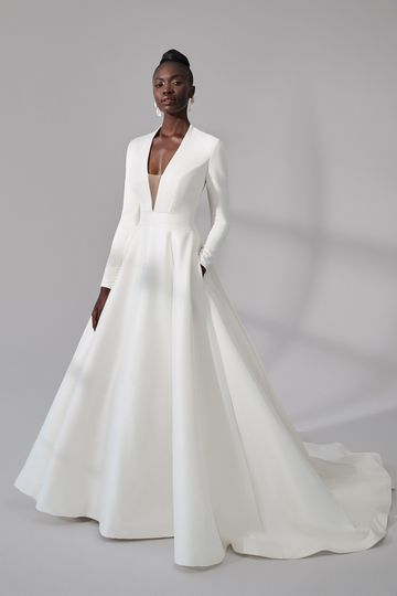 Justin Alexander Signature Style 99176 Gainesville Clean Long Sleeve Ball Gown with Illusion Back