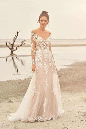 Lillian West Style 66116 Illusion Off the Shoulder Venice Lace Gown