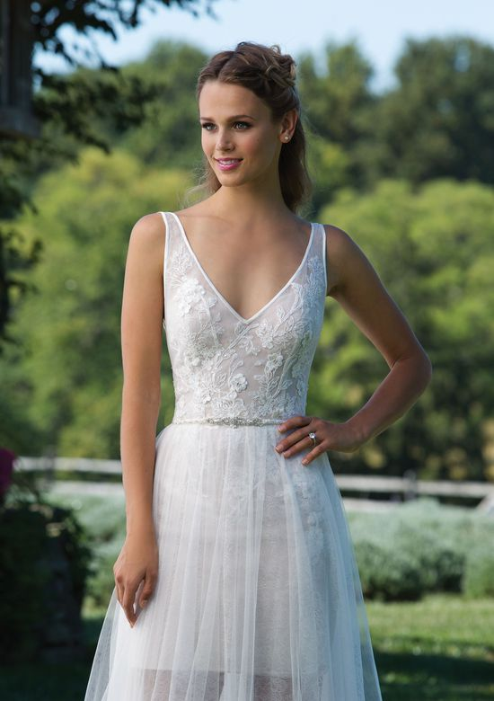 Sincerity Bridal Style 3970 V-Neck Chantilly Lace Mini Dress with Tulle Skirt