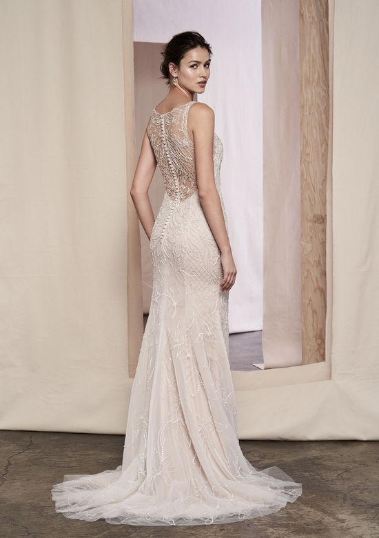 Justin Alexander Signature Style 99086 Dahlia Beaded Gown with Detachable Sequined Tulle Skirt