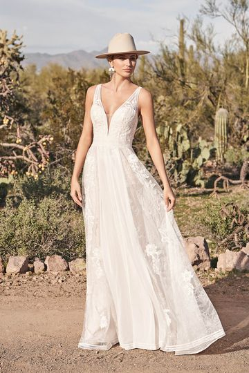 Lillian West Style 66166 Plunging V-Neck A-Line Dress with Lace and Chiffon Panels