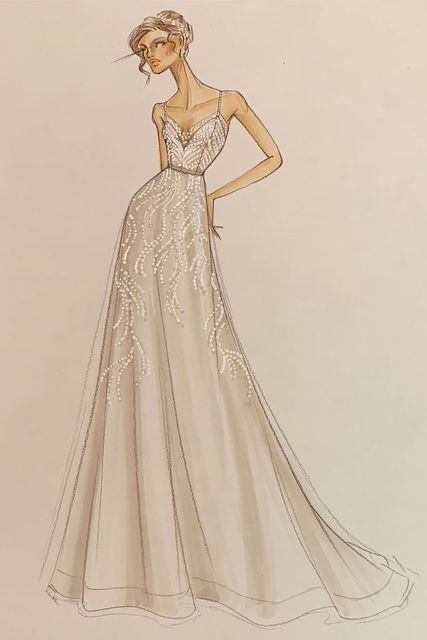 Justin Alexander Signature Style 99164 MCCOY Spaghetti Strap Ball Gown Accented with Scattered Beaded V-Neck