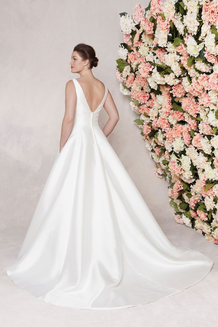 Sincerity Bridal Style 44080PS Asymmetric Draped Plus Size Ball Gown with Pockets