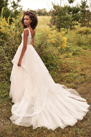 Lillian West Style 66201 Ruffle Skirt Ball Gown with 3D Chiffon Appliqués