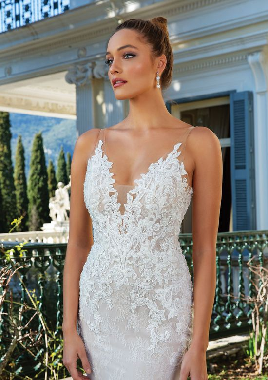 Justin Alexander Style 88124 Allover Lace Deep V-Neck Fit and Flare Gown