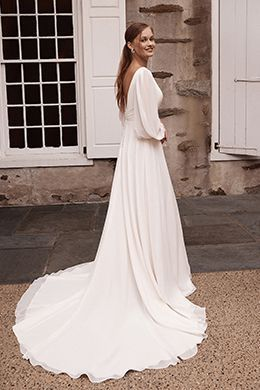 Sincerity Bridal Style 44264 Pleated V-Neck Chiffon A-Line Bridal Gown with Bishop Sleeves