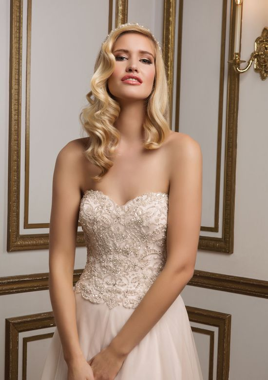 Justin Alexander Style 8836 Beaded Sweetheart Bodice and Soft Tulle A-Line Skirt