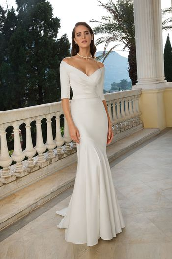 Justin Alexander Style 88079 Stretch Mikado Pleated Trumpet Gown