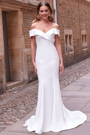 Adore by Justin Alexander Style 11171 Asher Cuffed Off the Shoulder Crepe Fit and Flare Wedding Dress