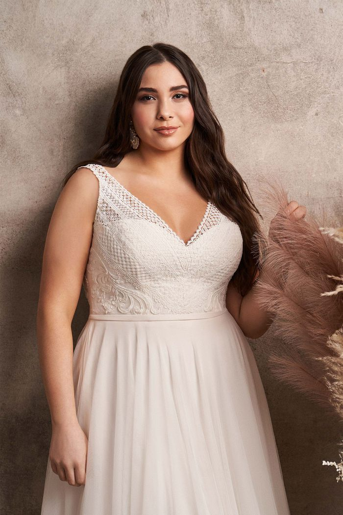 Lillian West Style 66122PS Plus Size English Net A-Line Dress with Lace Bodice
