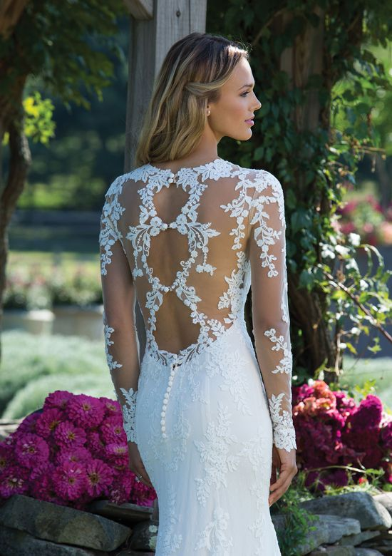 Sincerity Bridal Fit and Flare Gown with Lace Sleeves and Triple Keyhole Back