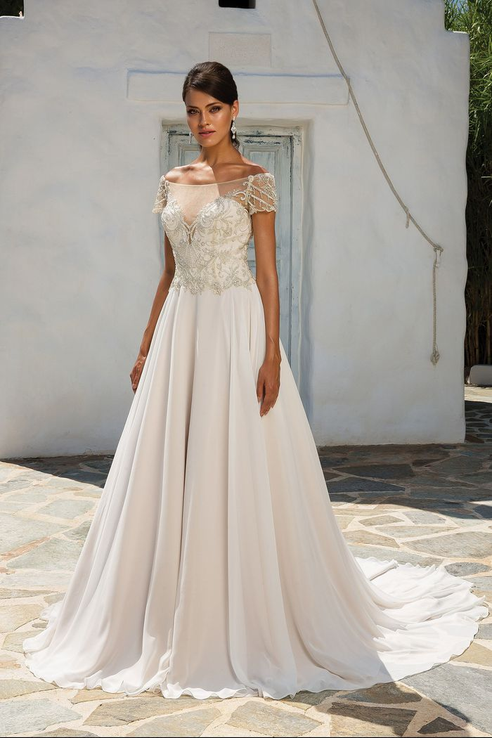 Justin Alexander Style 8957 Beaded Illusion Off the Shoulder Chiffon Gown with Short Sleeves