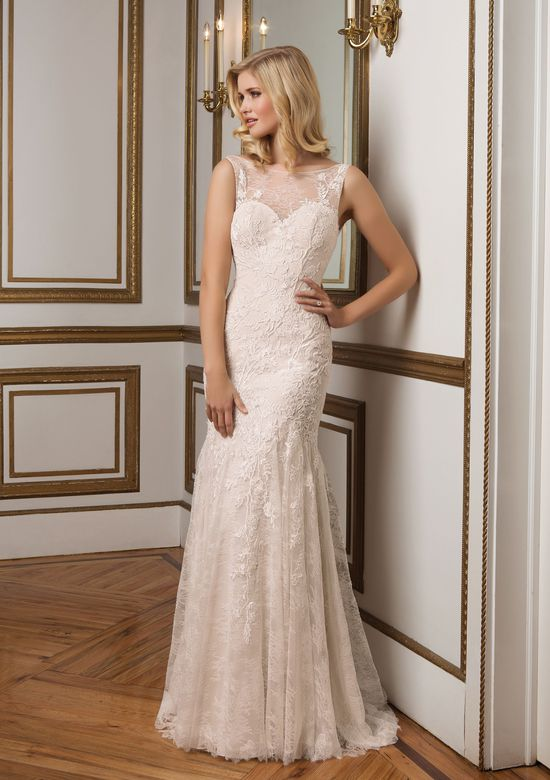 Justin Alexander Style 8828 Lace V-Back Wedding Dress with Sabrina Neckline