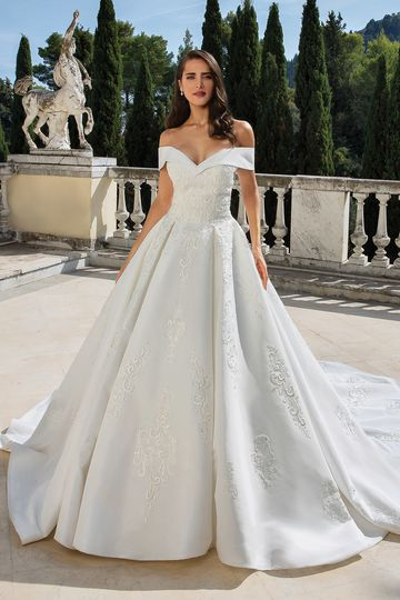 Justin Alexander style 88078 Off the Shoulder Mikado Ball Gown with Venice Lace Applique