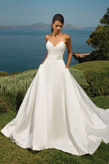 Justin Alexander Style 8927 Silk Dupion A-Line with Deep V-Back and V-Neckline